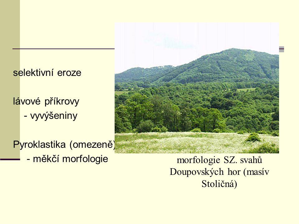 selektivní eroze lávové příkrovy - vyvýšeniny Pyroklastika (omezeně) - měkčí morfologie morfologie SZ. svahů Doupovských hor (masív Stoličná)