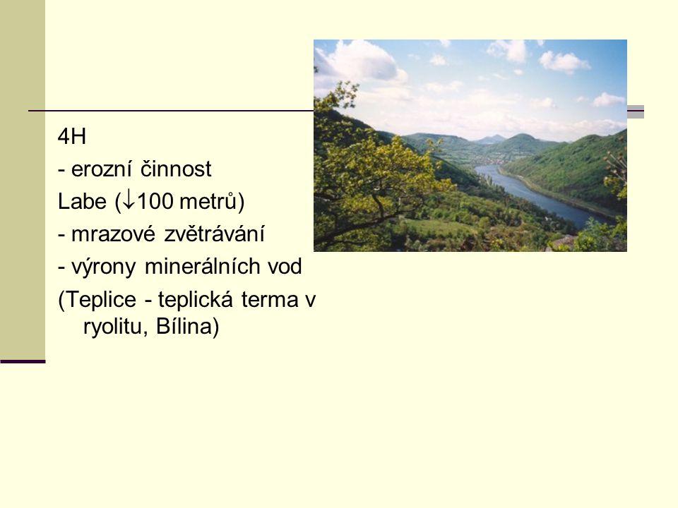 4H - erozní činnost Labe (  100 metrů) - mrazové zvětrávání - výrony minerálních vod (Teplice - teplická terma v ryolitu, Bílina)