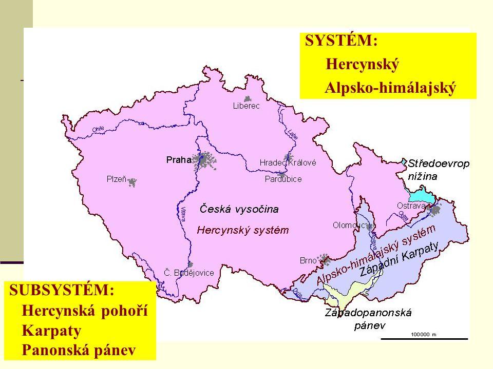 Členitost reliéfu - absolutní Nejvyšší části: Česká vysočina: Sněžka (1 602 m n.m.) Karpaty: Lysá hora (1 323 m n.m.) Nejvyšší vrcholy v ČR: 1.