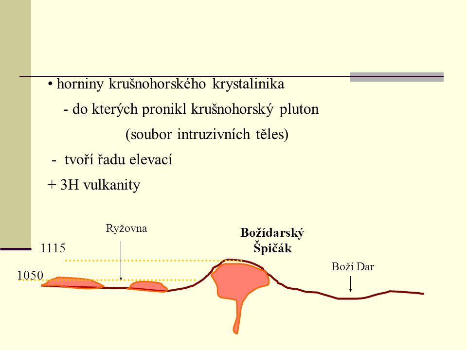 1050 1115 Božídarský Špičák Boží Dar Ryžovna horniny krušnohorského krystalinika - do kterých pronikl krušnohorský pluton (soubor intruzivních těles)
