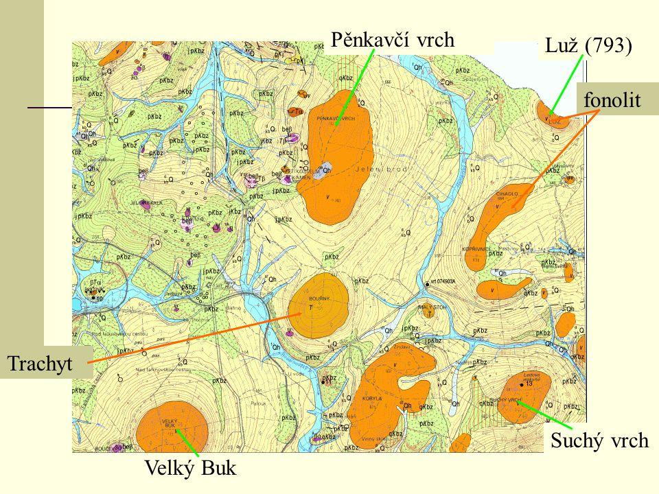 fonolit Luž (793) Pěnkavčí vrch Suchý vrch Trachyt Velký Buk