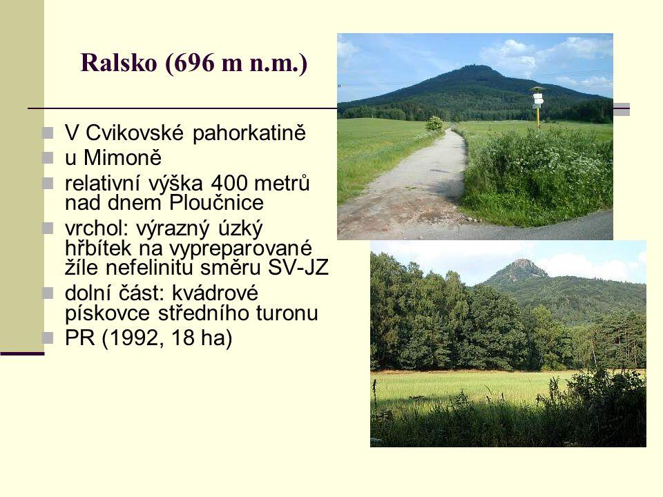 Ralsko (696 m n.m.) V Cvikovské pahorkatině u Mimoně relativní výška 400 metrů nad dnem Ploučnice vrchol: výrazný úzký hřbítek na vypreparované žíle n