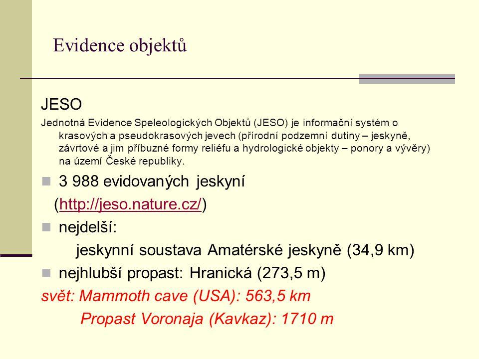 Evidence objektů JESO Jednotná Evidence Speleologických Objektů (JESO) je informační systém o krasových a pseudokrasových jevech (přírodní podzemní du