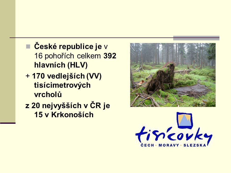 České republice je v 16 pohořích celkem 392 hlavních (HLV) + 170 vedlejších (VV) tisícimetrových vrcholů z 20 nejvyšších v ČR je 15 v Krkonoších