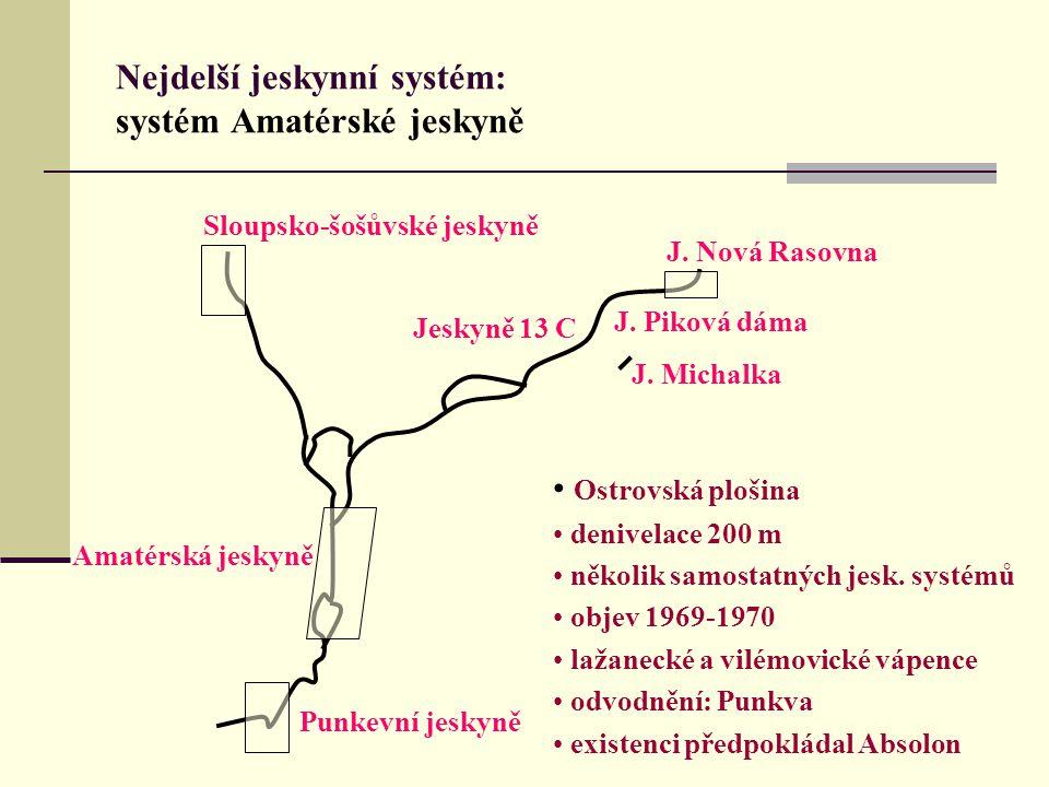 Nejdelší jeskynní systém: systém Amatérské jeskyně Sloupsko-šošůvské jeskyně Punkevní jeskyně Jeskyně 13 C Amatérská jeskyně J. Michalka J. Piková dám