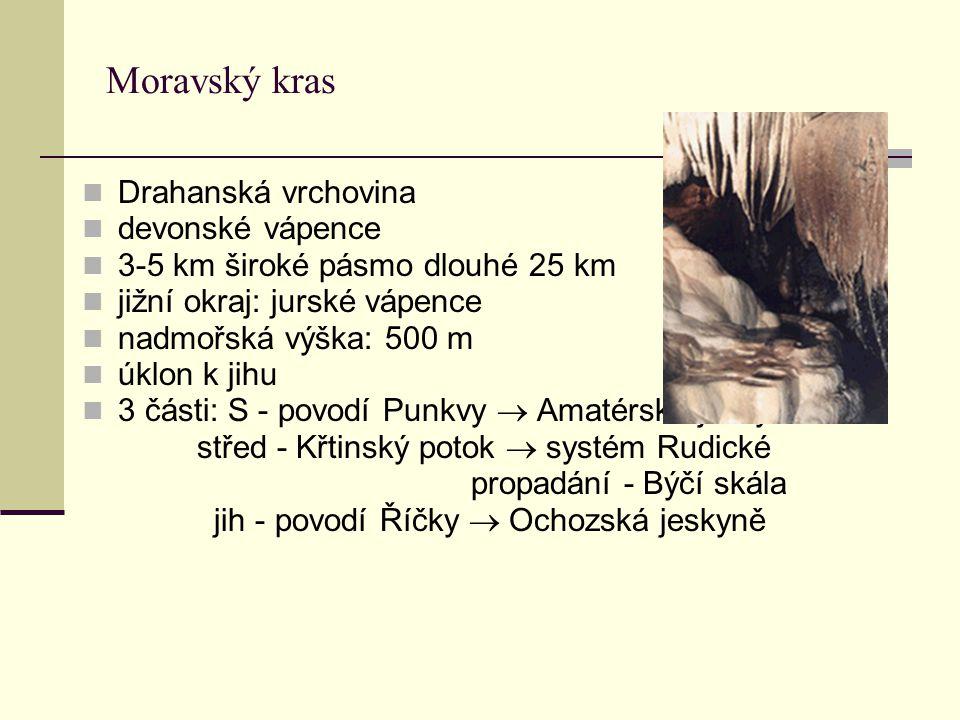 Moravský kras Drahanská vrchovina devonské vápence 3-5 km široké pásmo dlouhé 25 km jižní okraj: jurské vápence nadmořská výška: 500 m úklon k jihu 3