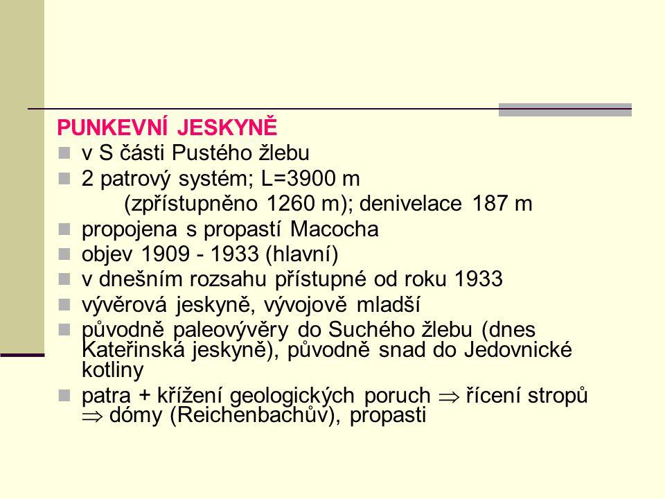 PUNKEVNÍ JESKYNĚ v S části Pustého žlebu 2 patrový systém; L=3900 m (zpřístupněno 1260 m); denivelace 187 m propojena s propastí Macocha objev 1909 -