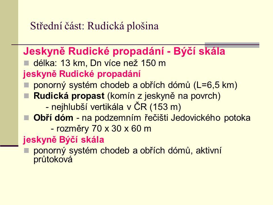 Střední část: Rudická plošina Jeskyně Rudické propadání - Býčí skála délka: 13 km, Dn více než 150 m jeskyně Rudické propadání ponorný systém chodeb a