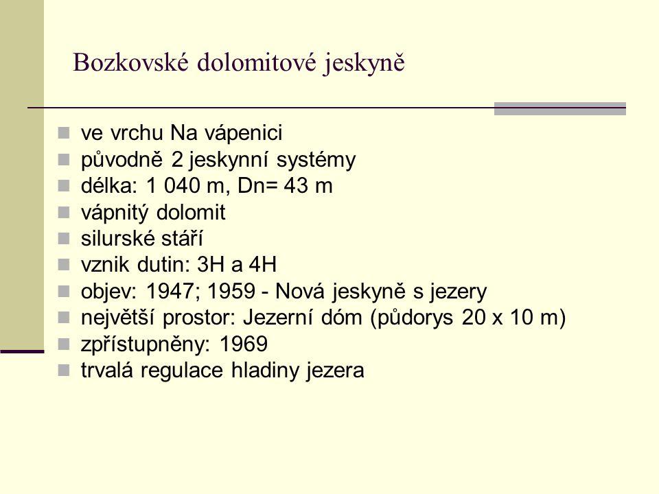Bozkovské dolomitové jeskyně ve vrchu Na vápenici původně 2 jeskynní systémy délka: 1 040 m, Dn= 43 m vápnitý dolomit silurské stáří vznik dutin: 3H a