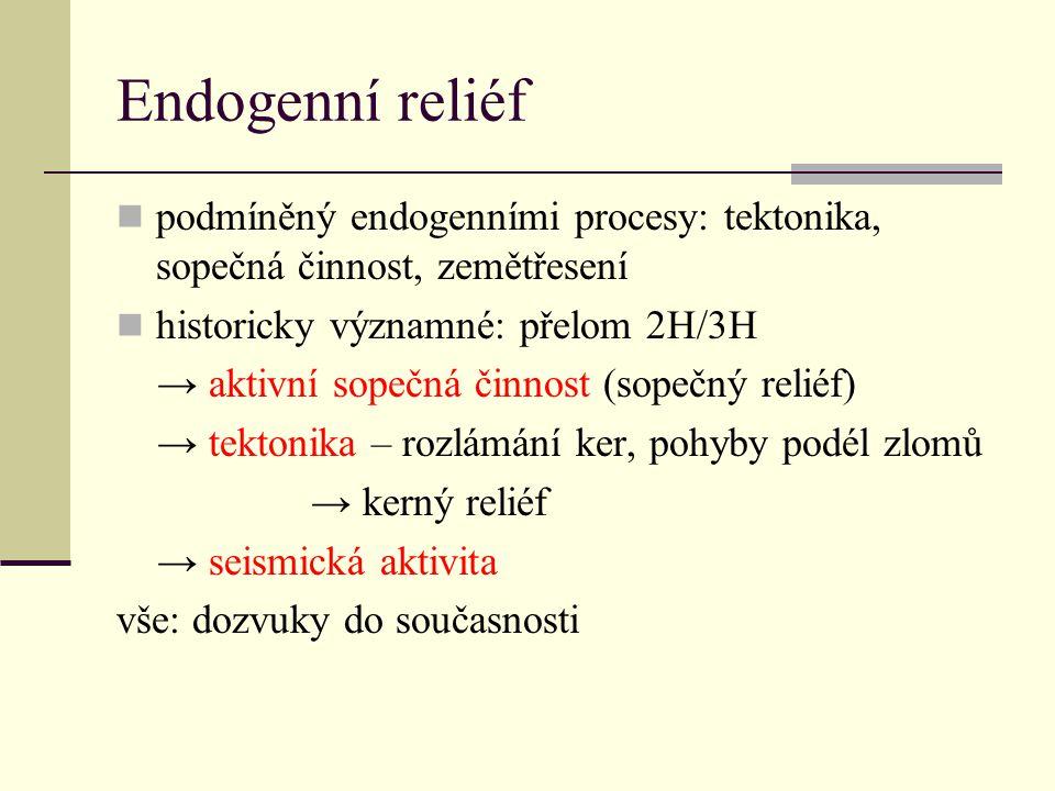 Endogenní reliéf podmíněný endogenními procesy: tektonika, sopečná činnost, zemětřesení historicky významné: přelom 2H/3H → aktivní sopečná činnost (s