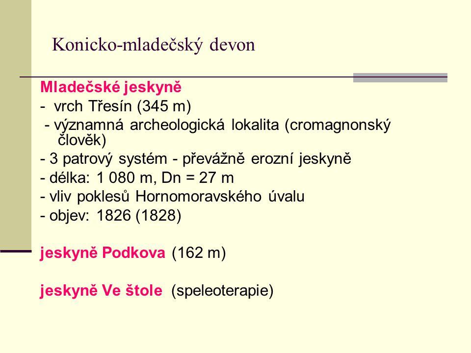 Konicko-mladečský devon Mladečské jeskyně - vrch Třesín (345 m) - významná archeologická lokalita (cromagnonský člověk) - 3 patrový systém - převážně
