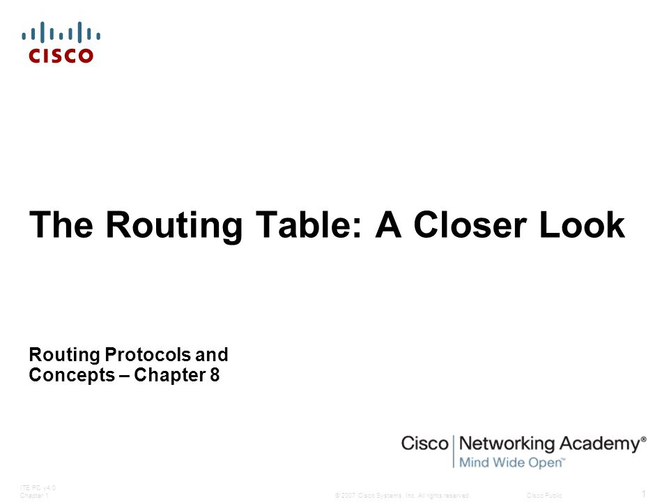 Routing Behavior  Classful Routing Behavior – Search Process  The reason why the router will not search beyond the child routes  Originally networks were all classful  This meant an organization could subnet a major network address and enlighten all the organization's routers about the subnetting  Therefore, if the subnet was not in the routing table, the subnet did not exist and packet was dropped
