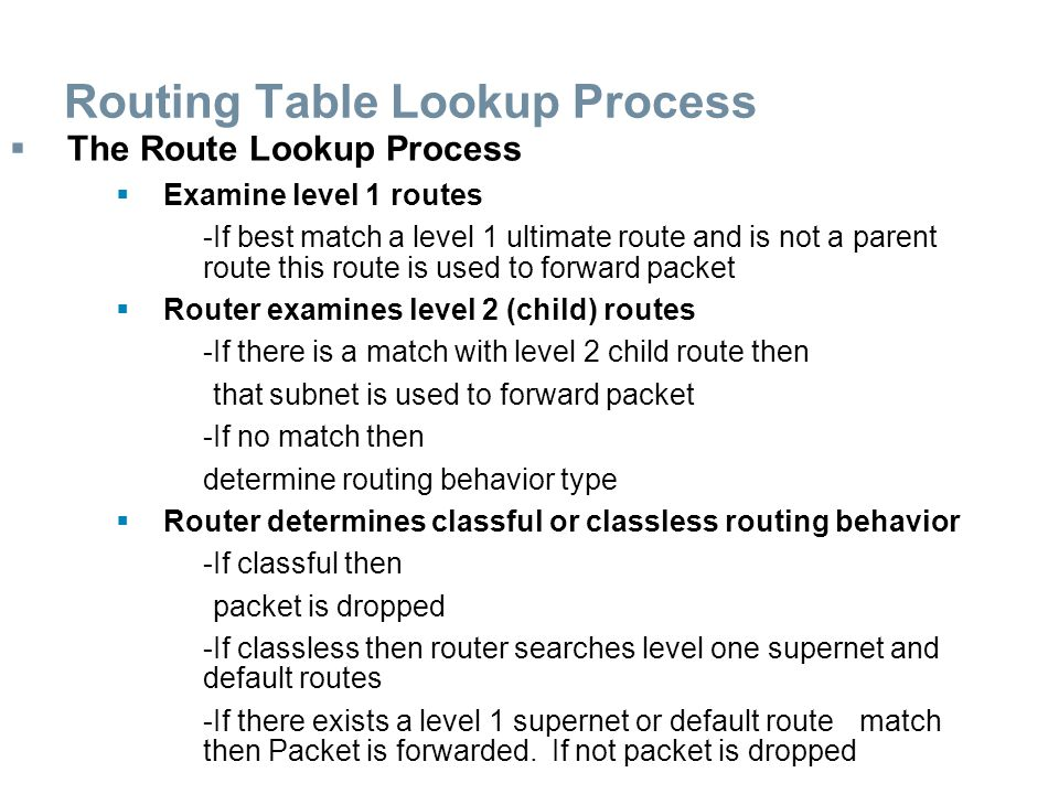 Routing Table Lookup Process  The Route Lookup Process  Examine level 1 routes -If best match a level 1 ultimate route and is not a parent route thi