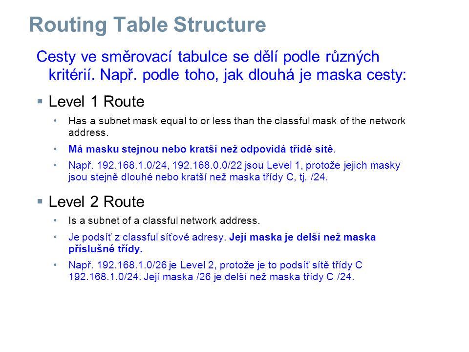 Routing Table Structure Cesty ve směrovací tabulce se dělí podle různých kritérií.