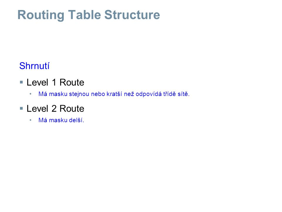 Summary Content/structure of a routing table  Routing table entries -Directly connected networks -Static route -Dynamic routing protocols  Routing tables are hierarchical -Level 1 route Have a subnet mask that is less than or equal to classful subnet mask for the network address -Level 2 route These are subnets of a network address