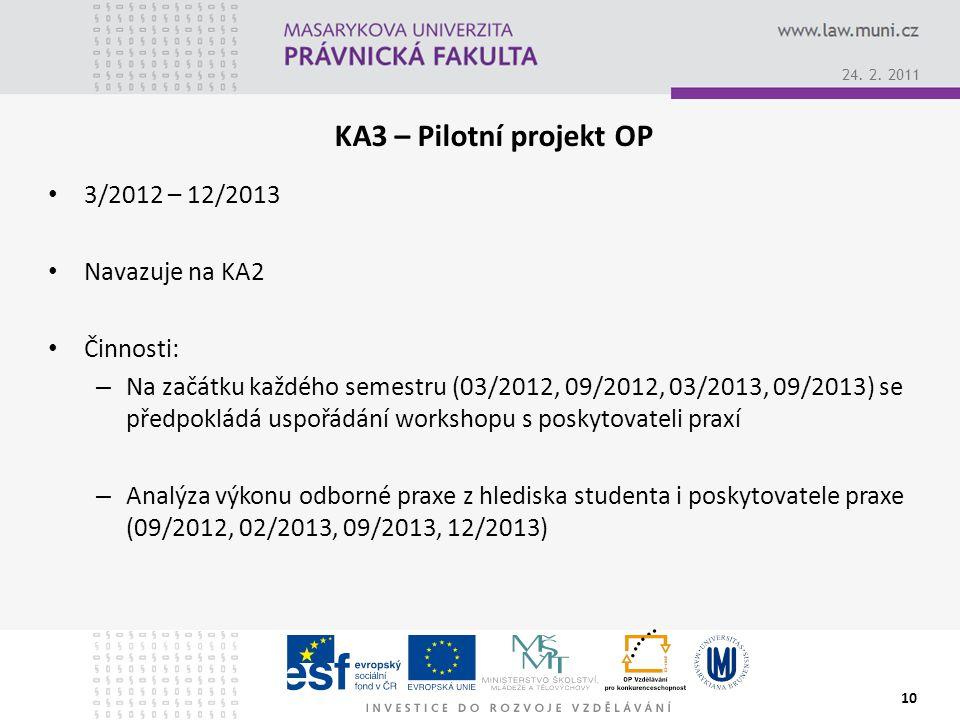 KA3 – Pilotní projekt OP 3/2012 – 12/2013 Navazuje na KA2 Činnosti: – Na začátku každého semestru (03/2012, 09/2012, 03/2013, 09/2013) se předpokládá uspořádání workshopu s poskytovateli praxí – Analýza výkonu odborné praxe z hlediska studenta i poskytovatele praxe (09/2012, 02/2013, 09/2013, 12/2013) 10 24.