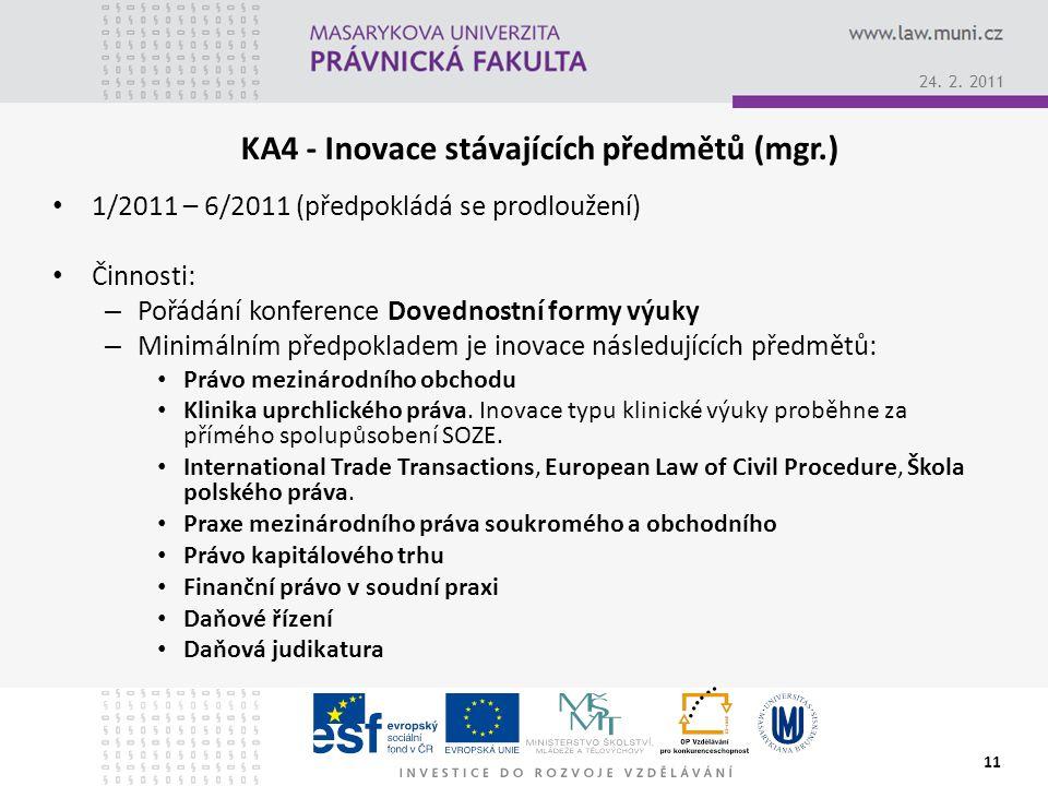 KA4 - Inovace stávajících předmětů (mgr.) 1/2011 – 6/2011 (předpokládá se prodloužení) Činnosti: – Pořádání konference Dovednostní formy výuky – Minimálním předpokladem je inovace následujících předmětů: Právo mezinárodního obchodu Klinika uprchlického práva.