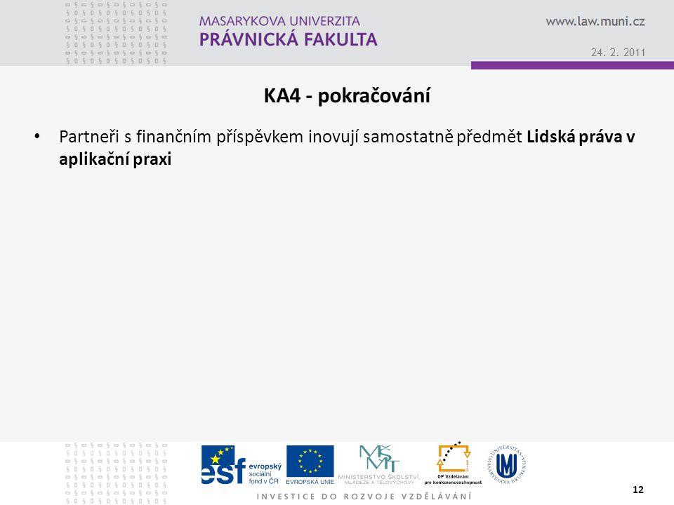 KA4 - pokračování Partneři s finančním příspěvkem inovují samostatně předmět Lidská práva v aplikační praxi 12 24.