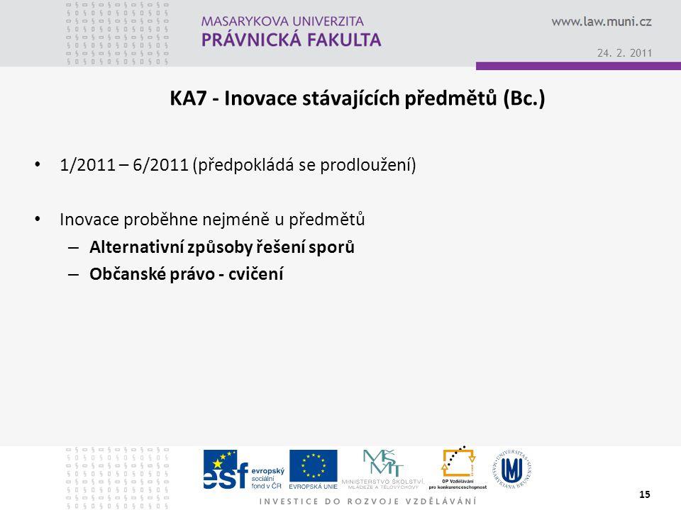1/2011 – 6/2011 (předpokládá se prodloužení) Inovace proběhne nejméně u předmětů – Alternativní způsoby řešení sporů – Občanské právo - cvičení 15 24.