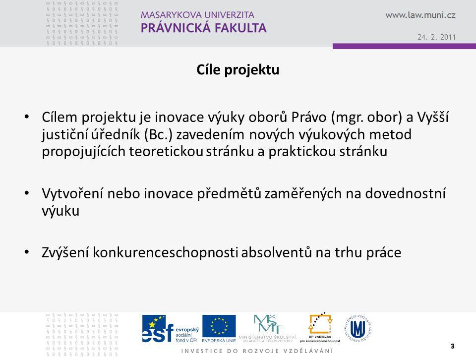 24. 2. 2011 3 Cíle projektu Cílem projektu je inovace výuky oborů Právo (mgr.