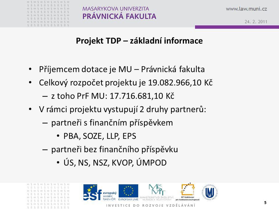 Projekt TDP – základní informace Příjemcem dotace je MU – Právnická fakulta Celkový rozpočet projektu je 19.082.966,10 Kč – z toho PrF MU: 17.716.681,10 Kč V rámci projektu vystupují 2 druhy partnerů: – partneři s finančním příspěvkem PBA, SOZE, LLP, EPS – partneři bez finančního příspěvku ÚS, NS, NSZ, KVOP, ÚMPOD 24.