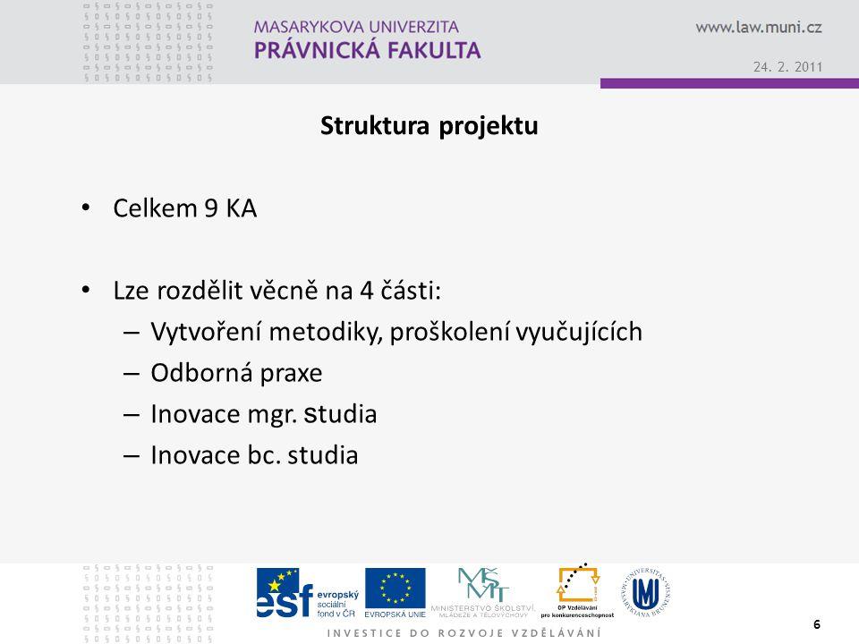 Struktura projektu Celkem 9 KA Lze rozdělit věcně na 4 části: – Vytvoření metodiky, proškolení vyučujících – Odborná praxe – Inovace mgr.