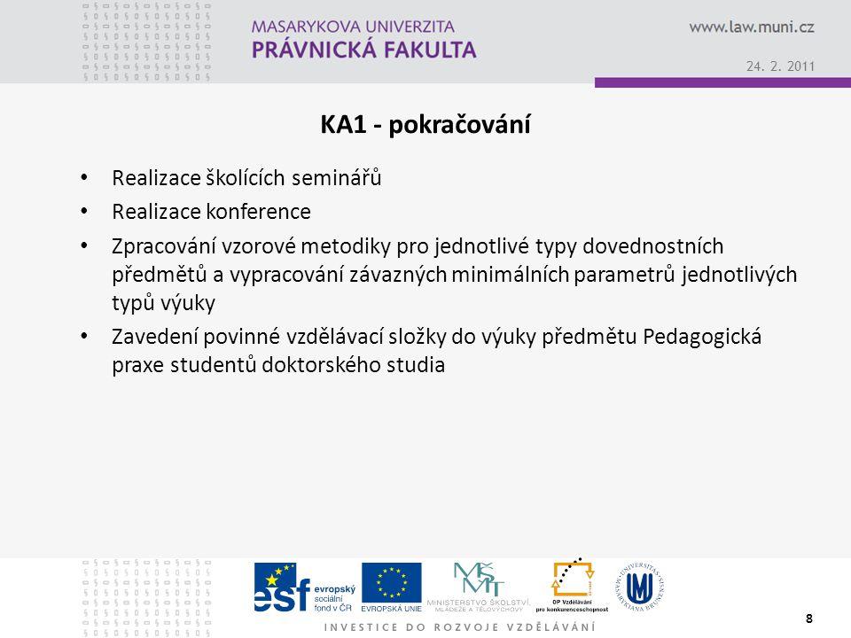 KA1 - pokračování Realizace školících seminářů Realizace konference Zpracování vzorové metodiky pro jednotlivé typy dovednostních předmětů a vypracování závazných minimálních parametrů jednotlivých typů výuky Zavedení povinné vzdělávací složky do výuky předmětu Pedagogická praxe studentů doktorského studia 8 24.