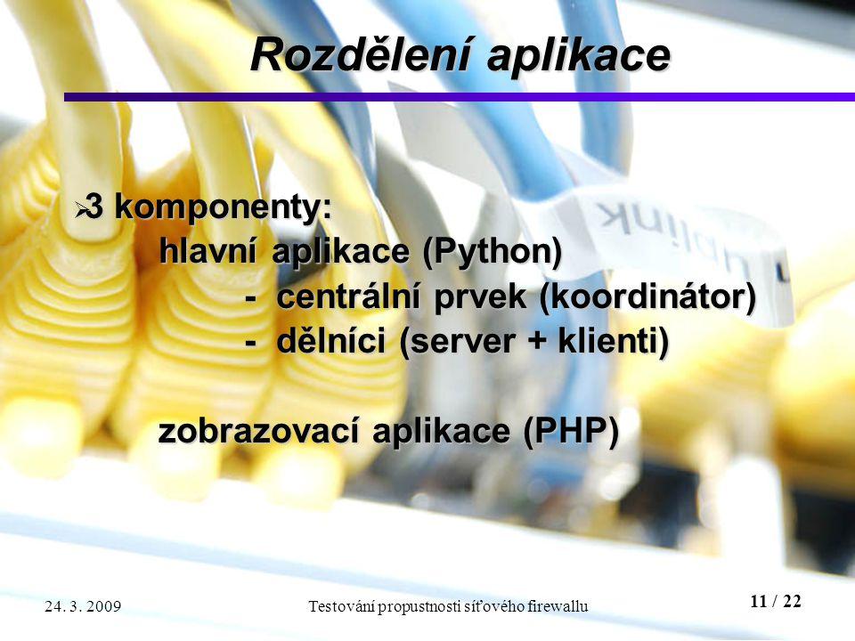 11 / 22 Testování propustnosti síťového firewallu24. 3. 2009 Rozdělení aplikace  3 komponenty: hlavní aplikace (Python) hlavní aplikace (Python) - ce