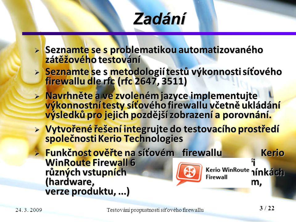 3 / 22 Testování propustnosti síťového firewallu24. 3. 2009 Zadání  Seznamte se s problematikou automatizovaného zátěžového testování  Seznamte se s
