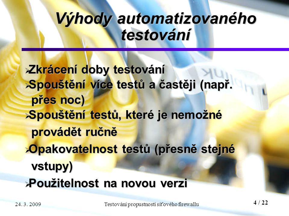 4 / 22 Testování propustnosti síťového firewallu24. 3. 2009 Výhody automatizovaného testování  Zkrácení doby testování  Spouštění více testů a častě
