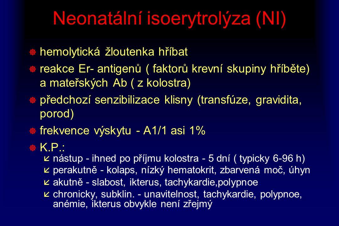 Neonatální isoerytrolýza (NI) ] hemolytická žloutenka hříbat ] reakce Er- antigenů ( faktorů krevní skupiny hříběte) a mateřských Ab ( z kolostra) ] p