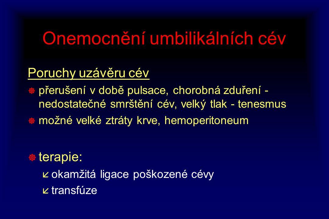 Onemocnění umbilikálních cév Poruchy uzávěru cév ] přerušení v době pulsace, chorobná zduření - nedostatečné smrštění cév, velký tlak - tenesmus ] mož
