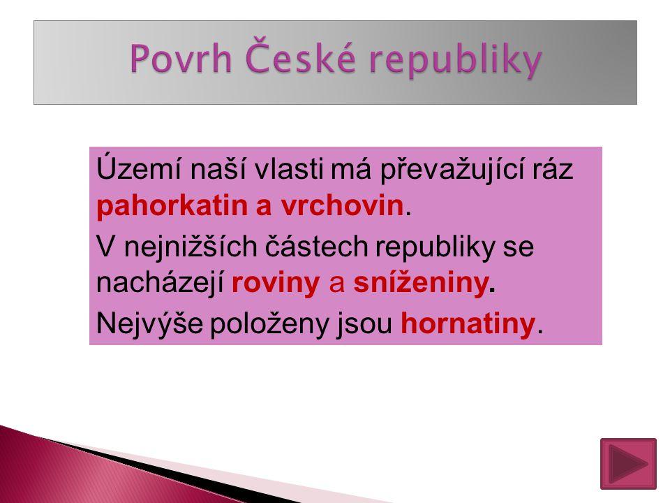 Povrh České republiky netvoří: Pahorkatiny a vrchoviny Dětská hřiště Roviny a sníženiny Hornatiny