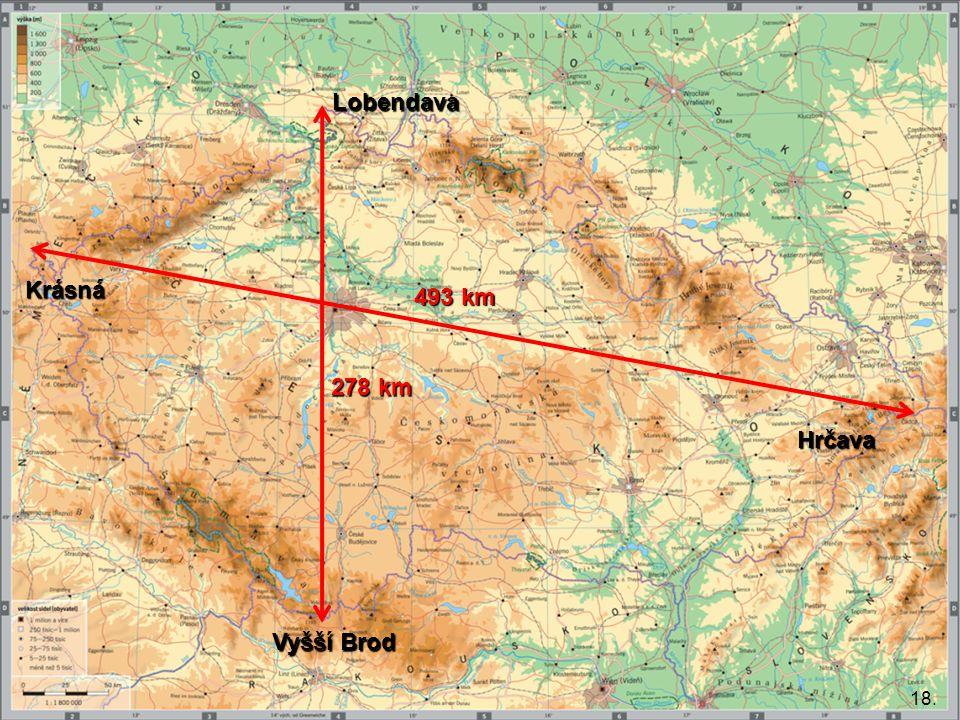 18. 278 km 493 km Lobendava Krásná Vyšší Brod Hrčava