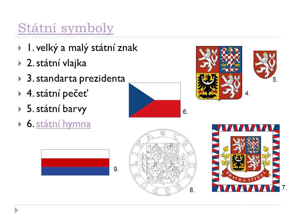 Státní symboly  1. velký a malý státní znak  2. státní vlajka  3. standarta prezidenta  4. státní pečeť  5. státní barvy  6. státní hymnastátní