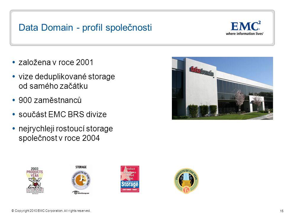15 © Copyright 2010 EMC Corporation. All rights reserved. Data Domain - profil společnosti  založena v roce 2001  vize deduplikované storage od samé