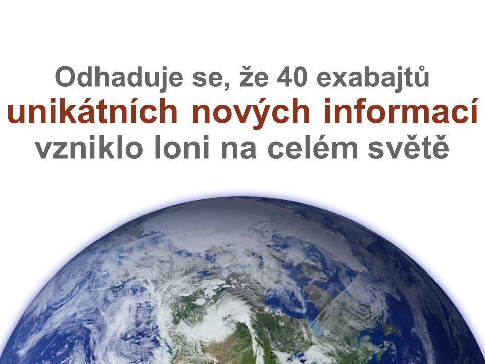 Odhaduje se, že 40 exabajtů unikátních nových informací vzniklo loni na celém světě