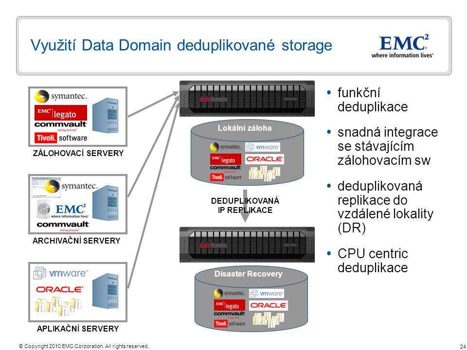 24 © Copyright 2010 EMC Corporation. All rights reserved. Využití Data Domain deduplikované storage ZÁLOHOVACÍ SERVERY ARCHIVAČNÍ SERVERY Lokální zálo
