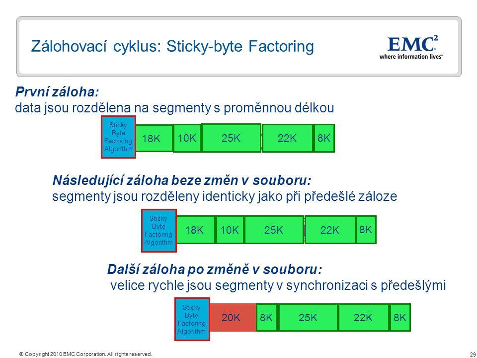 29 © Copyright 2010 EMC Corporation. All rights reserved. Zálohovací cyklus: Sticky-byte Factoring První záloha: data jsou rozdělena na segmenty s pro