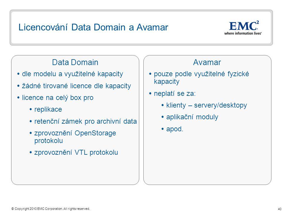 40 © Copyright 2010 EMC Corporation. All rights reserved. Data DomainAvamar Licencování Data Domain a Avamar  pouze podle využitelné fyzické kapacity