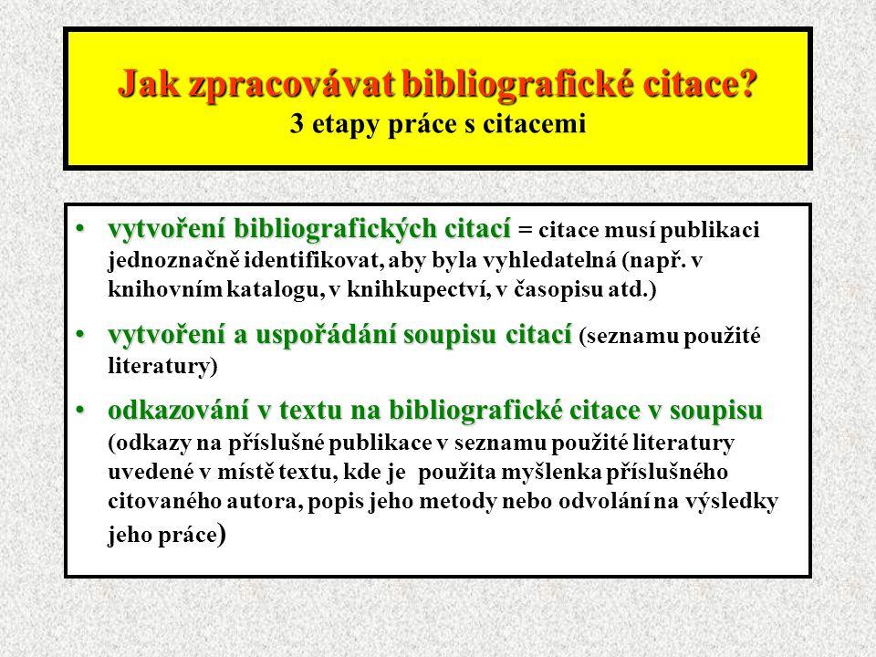 Jak zpracovávat bibliografické citace.Jak zpracovávat bibliografické citace.