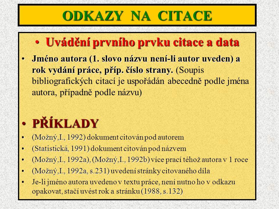 ODKAZY NA CITACE Uvádění prvního prvku citace a dataUvádění prvního prvku citace a data Jméno autora (1.