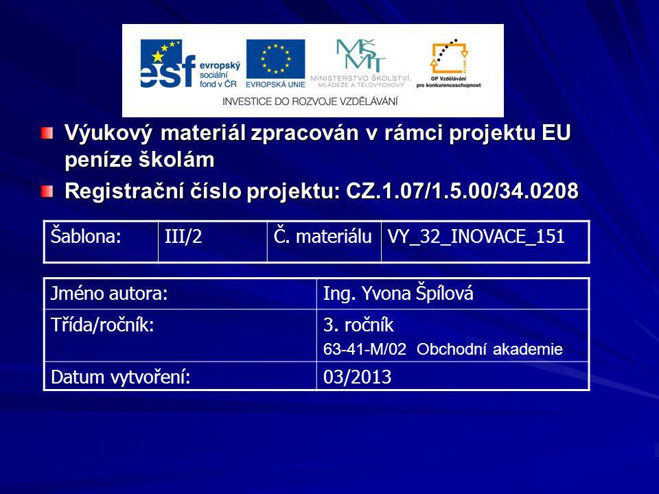 Výukový materiál zpracován v rámci projektu EU peníze školám Registrační číslo projektu: CZ.1.07/1.5.00/34.0208 Šablona:III/2Č. materiáluVY_32_INOVACE
