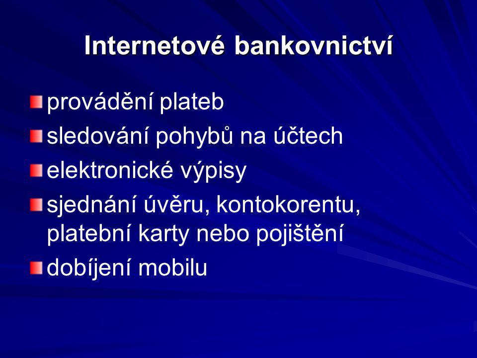 Internetové bankovnictví provádění plateb sledování pohybů na účtech elektronické výpisy sjednání úvěru, kontokorentu, platební karty nebo pojištění d