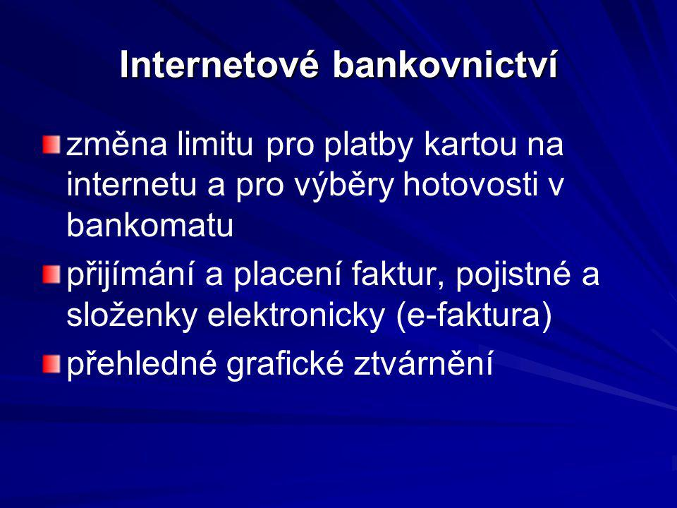 Internetové bankovnictví změna limitu pro platby kartou na internetu a pro výběry hotovosti v bankomatu přijímání a placení faktur, pojistné a složenk