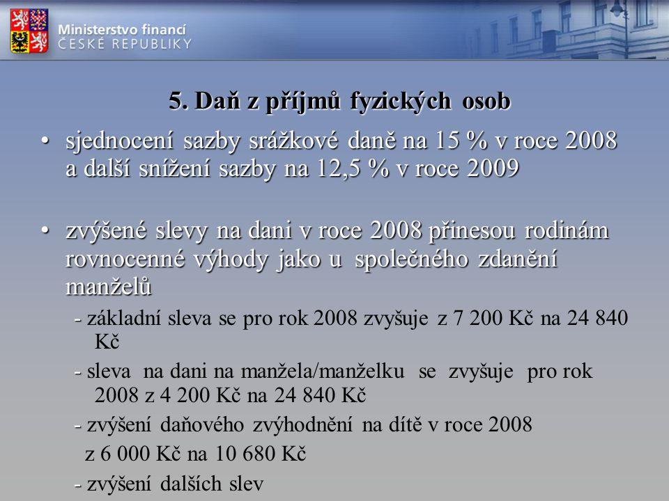 5. Daň z příjmů fyzických osob jediná sazba daně od roku 2008jediná sazba daně od roku 2008 –15 % v roce 2008 –12,5 % od roku 2009 stimuly :stimuly :