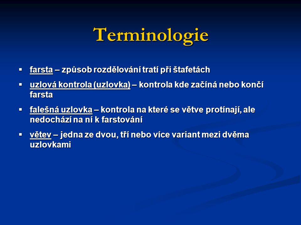Terminologie  farsta – způsob rozdělování tratí při štafetách  uzlová kontrola (uzlovka) – kontrola kde začíná nebo končí farsta  falešná uzlovka – kontrola na které se větve protínají, ale nedochází na ní k farstování  větev – jedna ze dvou, tří nebo více variant mezi dvěma uzlovkami
