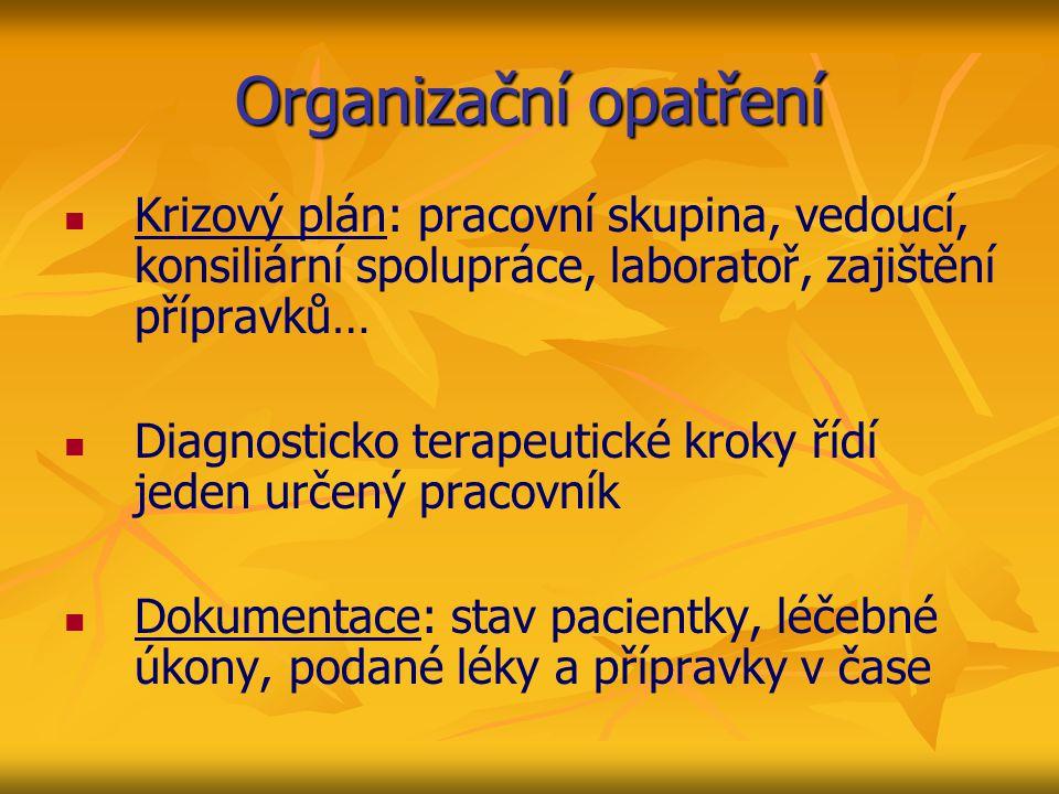 Organizační opatření Krizový plán: pracovní skupina, vedoucí, konsiliární spolupráce, laboratoř, zajištění přípravků… Diagnosticko terapeutické kroky