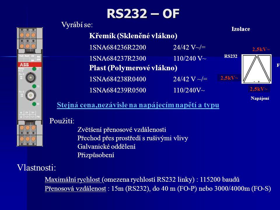 RS232 – OF Vlastnosti: Maximální rychlost (omezena rychlostí RS232 linky) : 115200 baudů Přenosová vzdálenost : 15m (RS232), do 40 m (FO-P) nebo 3000/4000m (FO-S) Použití: Zvětšení přenosové vzdálenosti Přechod přes prostředí s rušivými vlivy Galvanické oddělení Přizpůsobení Vyrábí se: Křemík (Skleněné vlákno) 1SNA684236R2200 24/42 V~/= 1SNA684237R2300 110/240 V~ Plast (Polymerové vlákno) 1SNA684238R0400 24/42 V ~/= 1SNA684239R0500 110/240V~ Izolace 2,5kV~ RS232 2,5kV~ FO Napájení Stejná cena,nezávisle na napájecím napětí a typu