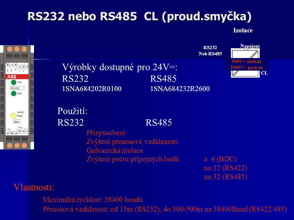 RS232 nebo RS485 CL (proud.smyčka) Vlastnosti: Maximální rychlost: 38400 baudů Přenosová vzdálenost: od 15m (RS232), do 300-500m na 38400Baud (RS422/485) Použití: RS232RS485 Přizpůsobení Zvýšení přenosové vzdálenosti Galvanická izolace Zvýšení počtu přípojných bodůz 6 (BDC) na 12 (RS422) na 32 (RS485) Výrobky dostupné pro 24V=: RS232RS485 1SNA684202R01001SNA684232R2600 Izolace RS232 Neb RS485 500V= aktivní 2000V= pasivní Napájení CL